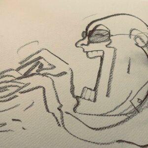 Caricature of Tony O'Malley by Geoff Dunbar